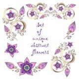 Insieme degli elementi floreali astratti disegnati a mano unici. Immagini Stock