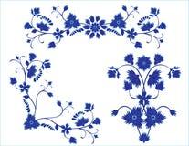 Insieme degli elementi floreali blu Fotografie Stock
