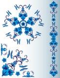 Insieme degli elementi floreali blu Immagine Stock