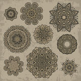 Insieme degli elementi floreali d'annata ornamentali Fotografie Stock