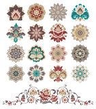 Insieme degli elementi floreali di disegno astratto. Fotografia Stock Libera da Diritti
