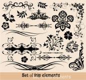 Insieme degli elementi floreali per il disegno,   Fotografia Stock