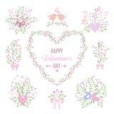 Insieme degli elementi floreali per la vostra progettazione di giorno o di nozze di biglietti di S. Valentino illustrazione vettoriale