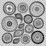 Insieme degli elementi floreali Reticoli indiani Foglie e fiori del pizzo royalty illustrazione gratis