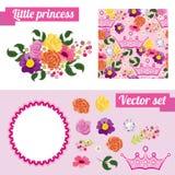 Insieme degli elementi floreali rosa con la corona raccolga Fotografia Stock Libera da Diritti