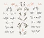 Insieme degli elementi floreali simmetrici di progettazione grafica Fotografia Stock