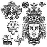 Insieme degli elementi grafici basati sui motivi dell'indiano del nativo americano di arte illustrazione vettoriale