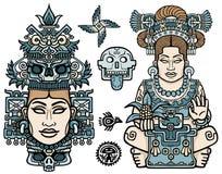 Insieme degli elementi grafici basati sui motivi dell'indiano del nativo americano di arte Donna, madre, dea, regina, simbolo eso illustrazione vettoriale