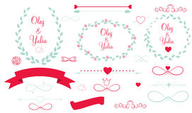 Insieme degli elementi grafici di nozze con le frecce, Fotografia Stock Libera da Diritti