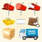 Insieme degli elementi, illustrazione di consegna di posta di vettore Fotografia Stock Libera da Diritti