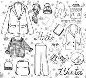 Insieme degli elementi isolati di abbigliamento e degli accessori in grafico Stile unico, guardaroba casuale nel vettore immagine stock