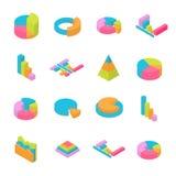 Insieme degli elementi isometrici di 3D Infographic Fotografie Stock Libere da Diritti