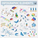Insieme degli elementi isometrici di progettazione di infographics Fotografie Stock Libere da Diritti