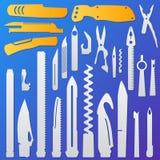 Insieme degli elementi multifunzionali del coltello, coltello di tasca, coltello svizzero, temperino multiuso, raccolta del colte Fotografia Stock