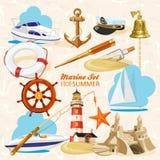 Insieme degli elementi nautici illustrazione di stock