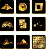 Insieme degli elementi nello stile di oro dei Incas illustrazione di stock