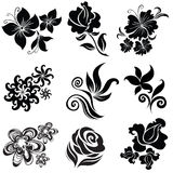 Insieme degli elementi neri di disegno del fiore Fotografia Stock
