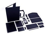 Insieme degli elementi neri per progettazione di identità corporativa su una b bianca Fotografia Stock