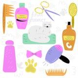 Insieme degli elementi per la cura dei gatti: pettine, sciampo, hairdryer, illustrazione vettoriale