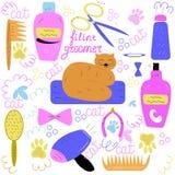 Insieme degli elementi per la cura dei gatti: pettine, sciampo, hairdryer, illustrazione di stock
