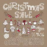 Insieme degli elementi per la vendita di Natale Fotografia Stock Libera da Diritti
