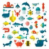 Insieme degli elementi piani del sealife di vettore, piante ed animali del mare - squalo, meduse, polipo ed altri Raccolta di mod illustrazione di stock