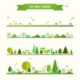 Insieme degli elementi piani della foresta Fotografia Stock