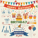 Insieme degli elementi piani di progettazione della festa di compleanno di vettore Fotografia Stock