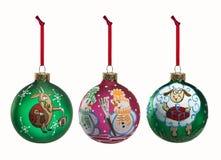 Insieme degli elementi pieghi della decorazione di Natale isolati sul BAC bianco Fotografia Stock Libera da Diritti