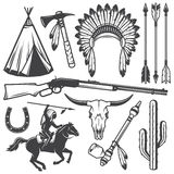 Insieme degli elementi progettati indiani americani ad ovest selvaggi Fotografia Stock