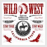 Insieme degli elementi progettati indiani americani ad ovest selvaggi Stile monocromatico royalty illustrazione gratis