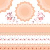 Insieme degli elementi rosa di progettazione per la confetteria del modello del menu Fotografie Stock