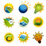 INSIEME degli elementi SOLARI Fotografia Stock