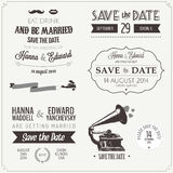 Insieme degli elementi tipografici di disegno dell'invito di nozze Illustrazione di Stock