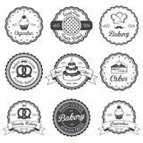 Insieme degli emblemi in bianco e nero d'annata del forno illustrazione vettoriale