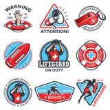 Insieme degli emblemi d'annata del bagnino illustrazione vettoriale