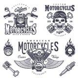 Insieme degli emblemi d'annata del motociclo Fotografia Stock Libera da Diritti