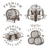 Insieme degli emblemi d'annata della fabbrica di birra della birra illustrazione di stock