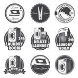 Insieme degli emblemi d'annata della lavanderia Immagine Stock Libera da Diritti