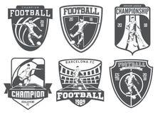 Insieme degli emblemi d'annata di calcio Fotografia Stock Libera da Diritti