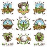Insieme degli emblemi d'annata di golf illustrazione vettoriale