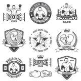 Insieme degli emblemi d'annata di pugilato royalty illustrazione gratis