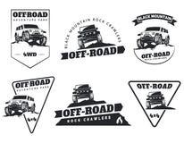 Insieme degli emblemi, dei distintivi e delle icone fuori strada classici dell'automobile del suv Roccia Fotografia Stock