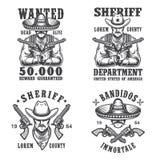 Insieme degli emblemi del bandito e dello sceriffo illustrazione vettoriale