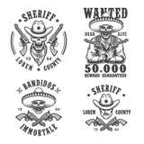 Insieme degli emblemi del bandito e dello sceriffo royalty illustrazione gratis