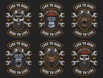 Insieme degli emblemi del motociclista illustrazione vettoriale