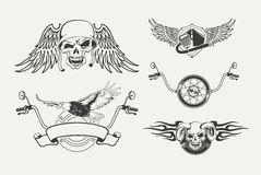 Insieme degli emblemi del motociclo, distintivi, etichette Fotografia Stock