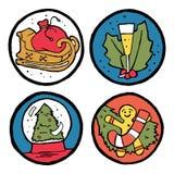 Insieme degli emblemi del nuovo anno e di Natale Fotografie Stock Libere da Diritti