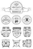 Insieme degli emblemi dell'alcool del barile di vettore Immagini Stock