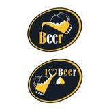 Insieme degli emblemi della birra, dei simboli, del logo, dei distintivi, dei segni, delle icone e degli elementi di progettazion Fotografie Stock